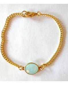 The Green Dainty Gemstone Bracelet by JewelMint.com, $36.00