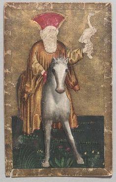 """Spielkarte Reiher König aus dem """"Ambraser Hofjagdspiel"""", Konrad Witz (Werkstatt), Basel, um 1440/1445. -- http://bilddatenbank.khm.at/viewArtefact?id=91029"""