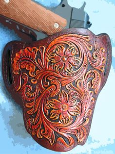 Tooled Leather 1911 Holster Pancake