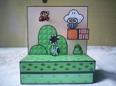 Diorama Mario 3 - Montado - 03 by Jhonat on DeviantArt Super Mario Bros, Mega Drive Games, Drawing Games, Mario Bros., Perler Beads, Shadow Box, Toy Chest, Art Drawings, Decorative Boxes