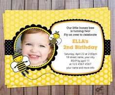 Birthday Party Invitation Photo Personalized Printable - Boy and Girl - Bumble Bee