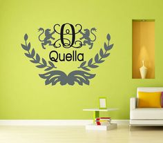 Monogram wall decal for boys room,Olive branch wall art sticker,Nursery wall decal,boy room wall sticker,Custom initial wall decal for kids