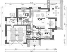 Rzut parteru projektu Alicja N House Outside Design, Design Case, Bungalow, Colonial, House Plans, Floor Plans, How To Plan, Tiny Houses, Diet