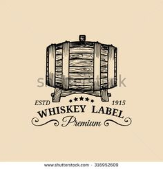 Whiskey logo. Vector sign with wooden barrel. Typographic label, badge with hand sketched keg. Used for restaurant, cafe, bar menu.
