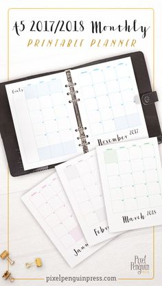 You asked for it! 2017-2018 monthly planner pages perfect as bullet journal inserts in your A5 binder or as a traveler's notebook. This printable includes 16 months from September 2017–December2018. Plus you have your choice from the 4 colour options included! Your new inserts are built on the standard 5mm dot grid and include a chic cover.