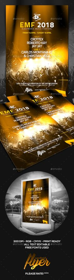 Electronic #Music Festival #Flyer - Clubs & Parties #Events Download here: https://graphicriver.net/item/electronic-music-festival-flyer/19582811?ref=alena994