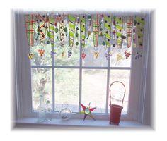 Handpainted Glass Window Treatment Valance by LittleLaLaOriginals