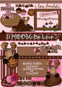 valentine clip art, moose be love, chocolate moose, chocolate clip art