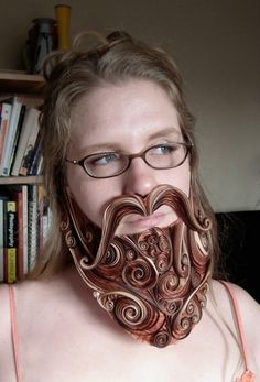 Paper-Bearded Lady by Sarah Yakawonis Known as. Quilling Patterns, Paper Quilling, Beard Competition, Paper Art, Paper Crafts, Cardboard Sculpture, Bearded Lady, Quilled Creations, Crazy People