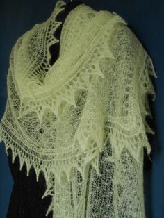 Knitted Lace Shawl in Fine Lemon Kid Mohair.