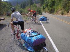 bicycle touring, looks like single wheel on trailer