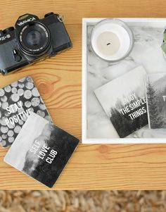 DIY COASTERS WITH INSPIRING QUOTES