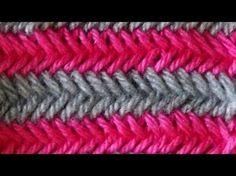 Cómo Tejer PUNTO ESPIGA EN COLORES-Herringbone Stitch (324) - YouTube