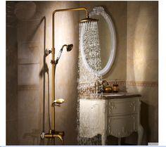 VICTORIAN Blue And White Porcelain Antique Brass Shower Faucet Tub Mixer Tap W/ Soap Dish