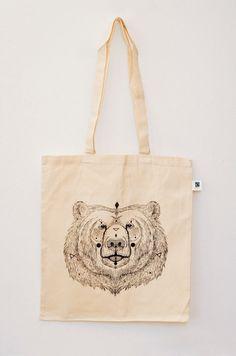 Organic Cotton Tote Bag URSUS neon orange / classic by MOZAIQ
