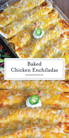 Baked Chicken Enchiladas is a savory, quick recipe that can work on any day of the week. When it come to easy chicken enchiladas, look no further! #easychickenenchiladas #bakedchickenenchiladas #bakedchickenenchiladas www.savoryexperiments.com