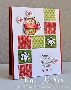 Lawn Fawn - Winter Owl and coordinating die, Fa La La paper _ beautiful design by Kay! Homemade Christmas Cards, Homemade Cards, Simple Christmas, Xmas Cards, Holiday Cards, Winter Karten, Owl Card, Card Making Inspiration, Winter Cards