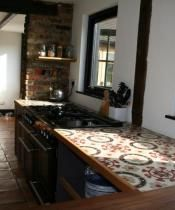Antique Spanish Tiles Used on Kitchen Worktop