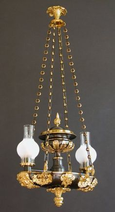 Two-Light Suspended Argand - Charles & Rebekah Clark Antiques