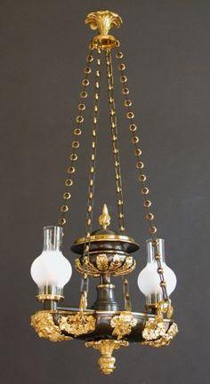 Two-Light Suspended Argand - Charles & Rebekah Clark Antiques