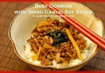 Beef Donburi with Shiso Garlic Soy Sauce Recipe | JustOneCookbook.com