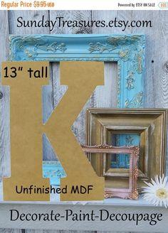 Summer Sale LARGE Unfinished Alphabet Letter K by SundayTreasures