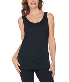 Black Scoop Neck Tank - Plus Too