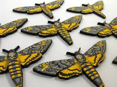 8 Wooden Death Head Moths  Collection of Laser Cut by porkchopshow