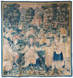 """""""CHASSE À L'OURS""""  17TH CENTURY AUBUSSON TAPESTRY OF A HUNTING SCENE WOVEN IN WOOL CIRCA 1680  With figures in the background hunting a bear with dogs in front of a chateau surrounded bystylised trees and large plants. In the foreground are several figures surrounding a seated bearded man, playing musical instruments, a faun on the left hand side plays a horn. In shades of blues, greens and beiges. Reduced in size with a blue and yellow border.  HEIGHT: 213 cm (6'11¾"""") WIDTH: 202 cm (6'7"""")"""