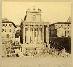 il Tempio di Antonino e Faustina con le case a fare da sfondo...