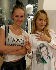 jessica mercedes kirschner - jemerced z koszulką ręcznie malowaną od bazgrającej