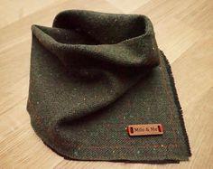 Merlin - Dog Bandana Winter/Christmas Holiday Gift (Green, Black, Colored Specks) Hand-Frayed