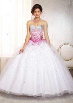 Quinceanera Dress From Vizcaya By Mori Lee Dress Style 88086 Ombré Beaded Bodice on a Tulle Ball Gown Skirt