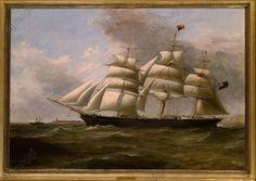 """""""The clipper ship John R. Worcester"""". Der Klipper 'John R. Worcester' (844 Tonnen, Stapellauf Dezember 1865 in Glasgow, abgewrackt 1902. Gemälde, 1869, von William Clark (1803–1883)."""