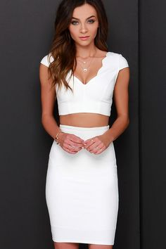 Clear-Eyed Ivory Two-Piece Dress at Lulus.com!