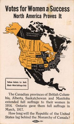 Postcard titled 'Votes for Women a Success' Sent by Elizabeth Potter to Mrs. B.J. Cunningham. On the picture side of the postcard is a color-coded map of the states in the US that either supported male suffrage only (yellow states) or total suffrage including suffrage for women (black states), saying that Canada supported total suffrage completely and when will the US do the same in all states?  Women's Archives Minnie Fisher Cunningham Papers, 1914-1944 (Public Domain)