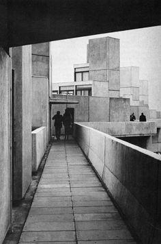 "fuckyeahbrutalism: "" University of East Anglia, Norwich, UK, (Denys Lasdun) "" Concrete Architecture, School Architecture, Architecture Photo, Architectural Association, Architectural Digest, University Of East Anglia, Brutalist Design, Archi Design, Ludwig Mies Van Der Rohe"