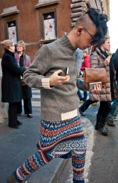 Knitwear | The Street Fashion Monitor - pretty sure that is a sweater worn as pants.
