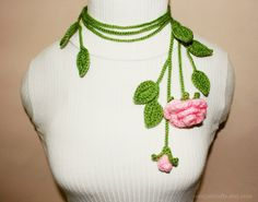 Unique Crochet Rose Lariat/ Necklace. $20.00, via Etsy.