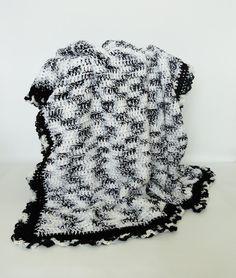 👯 Cobertor Afegão Crochê Preto e Branco Criativo -  /  👯 Blanket Afghan Crocheting Black and White Creative -