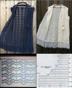 Easy Crochet Hat Patterns, Poncho Au Crochet, Crochet Shell Stitch, Crochet Coat, Crochet Cardigan Pattern, Crochet Shirt, Crochet Jacket, Diy Crochet, Crochet Clothes