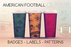 12 Sports Badges & Seamless Patterns by Jekson Graphics on Creative Market