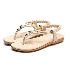 b5ae1258b122 Socofy Bohemian Sandals Women Shoes Summer Clip Toe Flat Sandals Beach  Cross-strap Metal Heart Slip On Elastic Flip Flops Shoes