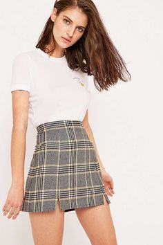 Urban Outfitters Notched Hem Checked Skirt
