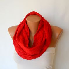 Red lace infinity scarf circle scarf winter scarf by bstyle, $22.00