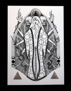 Hecate - Art print with hand embellished silver highlights - illustration of the Greek goddess of witchcraft and magic via ikosidio on Etsy Hecate Symbol, Symbole Tattoo, Druid Symbols, Hecate Goddess, Greek Mythology Tattoos, Roman Mythology, Cardboard Painting, Gold Acrylic Paint, Silver Highlights