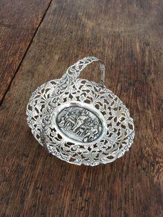 Vintage decorative silver-coloured bonbon basket by TinyShopOfStuff on Etsy