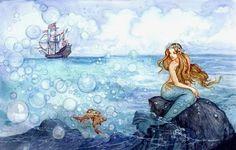Nonna Aleshina: Illustrazione per La sirenetta di Andersen - da: Giochi d'estate. Il salto 3