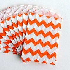 Large Orange and White Chevron Paper Treat by WaitingOnMarthaCraft, $5.50