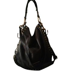 Pre-owned Kenneth Cole Stud Sense Hobo/ Bucket Leather In New York... ($179) ❤ liked on Polyvore featuring bags, handbags, shoulder bags, black, leather purse, black handbags, black hobo purse, black studded purse and black leather purse